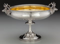 Silver Holloware, American:Compotes, An F.W. Cooper Partial Gilt Coin Silver Compote with Stag HeadHandles, circa 1850. Marks: F.W. COOPER, 131 AMITY ST. NY...