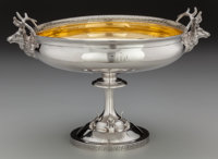 An F.W. Cooper Partial Gilt Coin Silver Compote with Stag Head Handles, circa 1850 Marks: F.W. COOPER, 131 AMIT