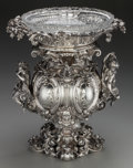 Silver Holloware, Continental:Holloware, An Imperial Prussian Hermann Julius Wilm Silver and Cut-GlassCenterpiece, with Cypher of Queen Augusta, Wife of Kaiser Wilhel...(Total: 4 Items)