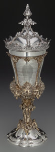 Silver Holloware, Continental, A Hanau Partial Gilt Silver Standing Covered Cup with GrapevineMotif, late 19th century. Marks: (effaced mark). 17 inches h...