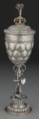 A Ludwig Neresheimer & Co. German Silver Figural Standing Cup with Knight and Dragon, Hanau, Germany, circa 1900 M...
