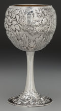 Silver Holloware, American:Cups, A Samuel Kirk & Son Partial Gilt Coin Silver Chased RepousséGoblet, Baltimore, Maryland, circa 1860. Marks: 11 OZ, S.KIR...