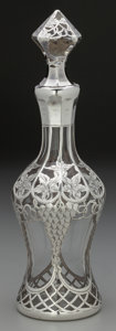 Silver Holloware, American:Flagons, An Alvin Silver Overlay Glass Decanter, Providence, Rhode Island,circa 1900. Marks: A, STERLING (heavily rubbed),110...