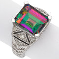 Estate Jewelry:Rings, Mystic Topaz, Diamond, White Gold Ring. ...
