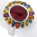 Estate Jewelry:Rings, Ruby, Sapphire, Sterling Silver Ring. ...