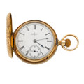 Timepieces:Pocket (post 1900), Elgin 14k Fancy Engraved Hunter's Case Pocket Watch. ...