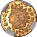 California Fractional Gold , 1874 25C Indian Round 25 Cents, BG-875, High R.4, MS66 ProoflikeNGC....