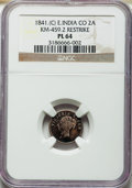 India:British India, India: British India - East India Company. Victoria Restrike Prooflike 2 Annas 1841-(C) PL64 NGC,...