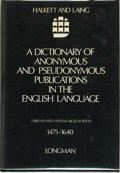 Books:Reference & Bibliography, John Horden, editor. A Dictionary of Anonymous and Pseudonymous Publications in the English Language 1475-1640. [Lon...