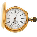 Timepieces:Pocket (post 1900), Swiss Heavy 14k Gold Quarter Repeater With Chronograph ForRestoration. ...