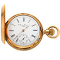 Timepieces:Pocket (post 1900), Swiss Perrin 14k Gold Hunter's Case Pocket Watch. ...