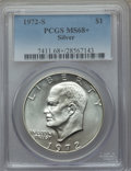 Eisenhower Dollars, 1972-S $1 Silver MS68+ PCGS. PCGS Population (1704/19). NGC Census: (414/4). Mintage: 2,193,056. Numismedia Wsl. Price for ...