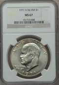 Eisenhower Dollars, 1971-S $1 Silver MS67 NGC. NGC Census: (120/1). PCGS Population (508/3). Mintage: 2,600,000. Numismedia Wsl. Price for prob...