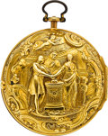 Timepieces:Pocket (pre 1900) , Joseph Horton London Gold Repousse Cylinder Fusee, circa 1750. ...
