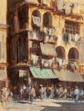 Fine Art - Painting, European:Modern  (1900 1949)  , Edward Brian Seago (British, 1910-1974). A Street in Wanchai,Hong Kong. Oil on masonite. 26 x 20 inches (66.0 x 50.8 cm...
