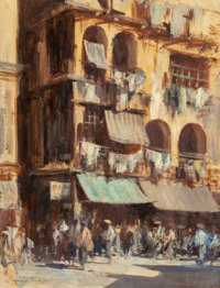 Edward Brian Seago (British, 1910-1974) A Street in Wanchai, Hong Kong Oil on masonite 26 x 20 in