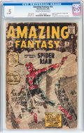 Silver Age (1956-1969):Superhero, Amazing Fantasy #15 (Marvel, 1962) CGC PR 0.5 Cream to off-white pages....