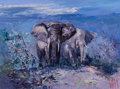 Fine Art - Painting, American:Contemporary   (1950 to present)  , Mark King (American, b. 1931). Night Elephants, 1991.Acrylic on canvas. 18 x 24 inches (45.7 x 61.0 cm). Signed lowerr...