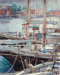 Fine Art - Painting, American:Modern  (1900 1949)  , George Bertrand Mitchell (American, 1872-1966). Sailboats atAnchor. Watercolor on paper. 22-1/2 x 18 inches (57.2 x 45....