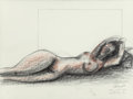 Fine Art - Work on Paper:Drawing, Vladimir Cora (American/Mexican, b. 1951). Recling Nude,1999. Charcoal on paper. 22-1/4 x 30 inches (56.5 x 76.2 cm) (s...