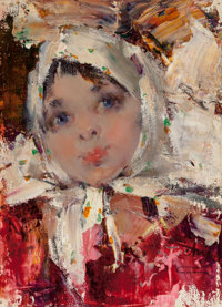 NICOLAI FECHIN (Russian/American, 1881-1955) Russian Girl Oil on canvas laid on masonite 9-1/8 x