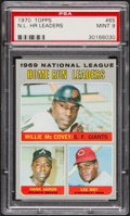 Baseball Cards:Singles (1970-Now), 1970 Topps NL Home Run Leaders McCovey/Aaron/May #65 PSA Mint 9....