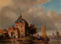Fine Art - Painting, European:Antique  (Pre 1900), Holtz (Dutch, 19th Century). Dutch Fishing Village, 1868.Oil on tin. 5-7/8 x 8 inches (14.9 x 20.3 cm). Signed and date...