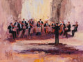 Fine Art - Painting, American, Mark King (American, b. 1931). A Concert Ensemble, 1991.Acrylic on canvas. 30 x 40 inches (76.2 x 101.6 cm). Signed low...