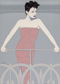 Patrick Nagel (American, 1945-1984) Lady Standing on Statue of Liberty, #326 and PN977 Acrylic on ca