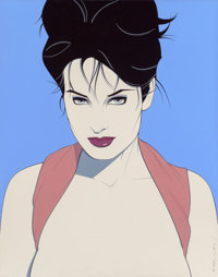 Patrick Nagel (American, 1945-1984) Pin-Up with her Hair Up, #327, 1983 Acrylic on canvas 33 x 26