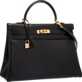 "Luxury Accessories:Bags, Hermes 35cm Black Calf Box Leather Retourne Kelly Bag with GoldHardware . Very Good to Excellent Condition . 14""Widt..."