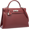 Luxury Accessories:Bags, Hermes 32cm Rouge H Calf Box Leather Sellier Kelly Bag with BrushedPalladium Hardware . Very Good to Excellent Condition ...