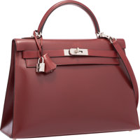 Hermes 32cm Rouge H Calf Box Leather Sellier Kelly Bag with Brushed Palladium Hardware Very Good to Excellent