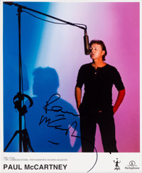 Beatles - Paul McCartney Signed Color Photo in Matted Display