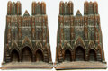 Books:Furniture & Accessories, [Bookends]. Pair of Matching Iron Bookends with a Copper Finish Depicting Bishop's Cathedral. Unsigned, circa 1929. ... (Total: 2 Items)