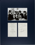 Music Memorabilia:Autographs and Signed Items, Beatles Signatures on an Austrian Menu Obtained During the Filmingof Help!, in Matted Display (Oberta...
