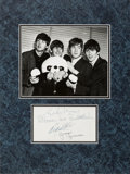 Music Memorabilia:Autographs and Signed Items, Beatles Beautiful Set of Signatures in Matted Display (Glasgow,April 29-30, 1964). ...
