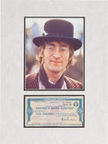 Music Memorabilia:Autographs and Signed Items, Beatles - John Lennon Signed £10 Travellers' Cheque in MattedDisplay (London, December 28, 1967)....