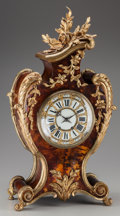 Timepieces:Clocks, A Louis XV-Style Gilt Bronze and Tortoiseshell Mantle Clock, circa 1855. Marks to mechanism: MADE IN FRANCE, MEDAILLE D'AR...