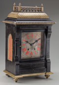 Decorative Arts, Continental:Other , A Continental Slate and Gilt Bronze Mantle Clock, circa 1865. 24inches high x 12 inches wide (61.0 x 30.5 cm). PROPERTY F...