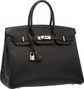 "Luxury Accessories:Bags, Hermes 35cm Black Epsom Leather Birkin Bag with Palladium Hardware.Excellent Condition . 14"" Width x 10"" Height x 7"" ..."