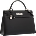 "Luxury Accessories:Bags, Hermes 32cm Black Calf Box Leather Sellier Kelly Bag with Palladium Hardware. Excellent Condition. 12.5"" Width x 9"" He..."