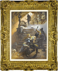 "Frank Frazetta - ""In Pharaoh's Tomb"" (Battlestar Galactica) Painting Original Art (1978). Double your fear, wi..."