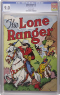 "Golden Age (1938-1955):Western, Lone Ranger #1 (Dell, 1948) CGC VF/NM 9.0 Off-white pages. To putit in Lone Ranger terms, this is a real ""Clayton Moore"" of..."
