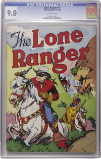 "Lone Ranger #1 (Dell, 1948) CGC VF/NM 9.0 Off-white pages. To put it in Lone Ranger terms, this is a real ""Clayton..."
