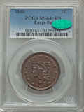 Large Cents, 1840 1C Large Date, N-5, R.1, MS64+ Brown PCGS. CAC....