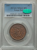 1857 1C Large Date, N-1, R.1, MS64+ Brown PCGS. CAC....(PCGS# 389634)