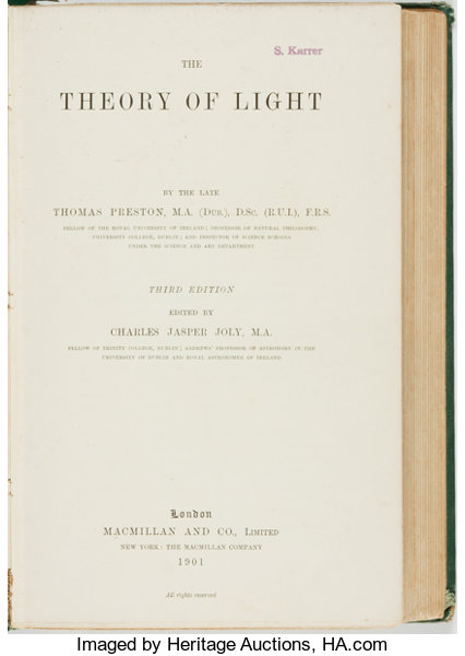 BooksScience Technology Thomas Preston The Theory Of Light London