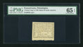 Colonial Notes:Pennsylvania, Pennsylvania August 6, 1789 $1/90 PMG Gem Uncirculated 65 EPQ.. ...