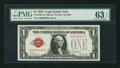 Small Size:Legal Tender Notes, Low Serial Number 00000052 Fr. 1500 $1 1928 Legal Tender Note. PMG Choice Uncirculated 63 EPQ.. ...